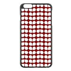 Red And White Leaf Pattern Apple iPhone 6 Plus Black Enamel Case
