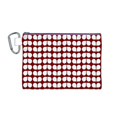 Red And White Leaf Pattern Canvas Cosmetic Bag (Medium)