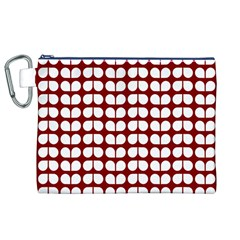 Red And White Leaf Pattern Canvas Cosmetic Bag (XL)
