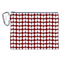 Red And White Leaf Pattern Canvas Cosmetic Bag (XXL)