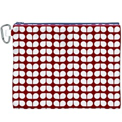 Red And White Leaf Pattern Canvas Cosmetic Bag (XXXL)