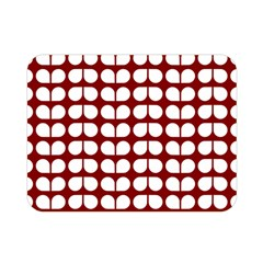 Red And White Leaf Pattern Double Sided Flano Blanket (Mini)