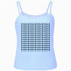 Gray And White Leaf Pattern Baby Blue Spaghetti Tank