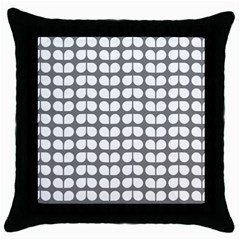 Gray And White Leaf Pattern Black Throw Pillow Case
