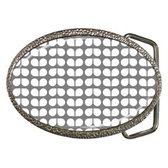 Gray And White Leaf Pattern Belt Buckle (oval)