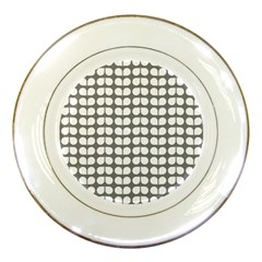 Gray And White Leaf Pattern Porcelain Display Plate