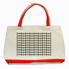 Gray And White Leaf Pattern Classic Tote Bag (Red)