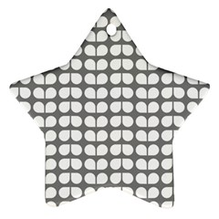 Gray And White Leaf Pattern Star Ornament (two Sides)