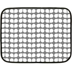 Gray And White Leaf Pattern Mini Fleece Blanket (two Sided)