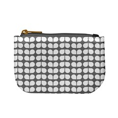 Gray And White Leaf Pattern Coin Change Purse