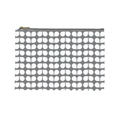 Gray And White Leaf Pattern Cosmetic Bag (large)