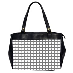 Gray And White Leaf Pattern Oversize Office Handbag (two Sides)
