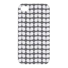 Gray And White Leaf Pattern Apple Iphone 4/4s Premium Hardshell Case