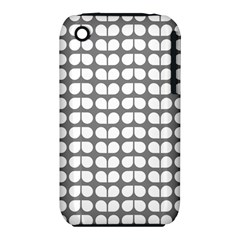 Gray And White Leaf Pattern Apple Iphone 3g/3gs Hardshell Case (pc+silicone)