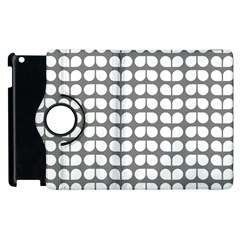 Gray And White Leaf Pattern Apple Ipad 2 Flip 360 Case