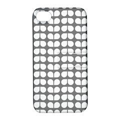 Gray And White Leaf Pattern Apple Iphone 4/4s Hardshell Case With Stand
