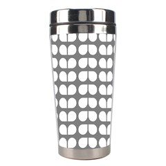 Gray And White Leaf Pattern Stainless Steel Travel Tumbler