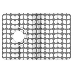 Gray And White Leaf Pattern Kindle Fire Hdx Flip 360 Case
