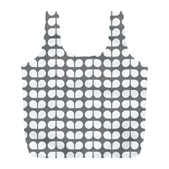 Gray And White Leaf Pattern Reusable Bag (l)