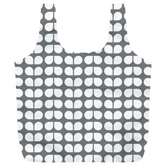 Gray And White Leaf Pattern Reusable Bag (xl)