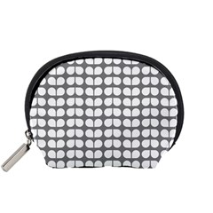 Gray And White Leaf Pattern Accessory Pouch (Small)