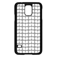 Gray And White Leaf Pattern Samsung Galaxy S5 Case (Black)