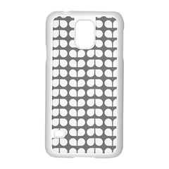 Gray And White Leaf Pattern Samsung Galaxy S5 Case (white)