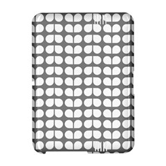 Gray And White Leaf Pattern Kindle Fire HD Hardshell Case