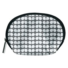 Gray And White Leaf Pattern Accessory Pouch (Medium)
