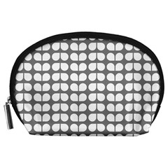 Gray And White Leaf Pattern Accessory Pouch (Large)