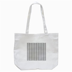 Gray And White Leaf Pattern Tote Bag (White)
