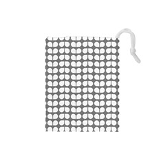 Gray And White Leaf Pattern Drawstring Pouch (Small)