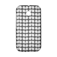 Gray And White Leaf Pattern Motorola Moto E Hardshell Case