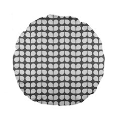 Gray And White Leaf Pattern 15  Premium Flano Round Cushion