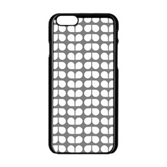 Gray And White Leaf Pattern Apple iPhone 6 Black Enamel Case