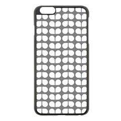 Gray And White Leaf Pattern Apple iPhone 6 Plus Black Enamel Case