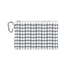 Gray And White Leaf Pattern Canvas Cosmetic Bag (Small)