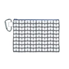 Gray And White Leaf Pattern Canvas Cosmetic Bag (Medium)