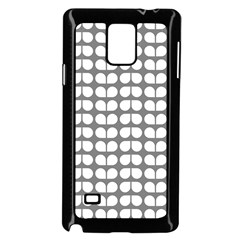 Gray And White Leaf Pattern Samsung Galaxy Note 4 Case (black)