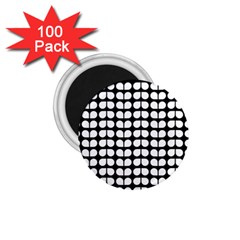 Black And White Leaf Pattern 1 75  Button Magnet (100 Pack)