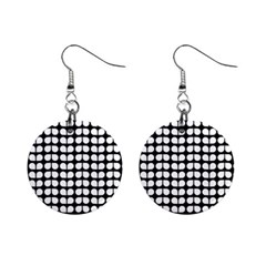 Black And White Leaf Pattern Mini Button Earrings