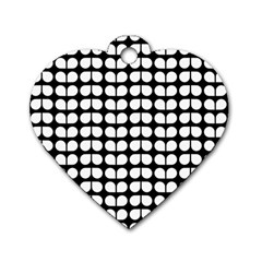 Black And White Leaf Pattern Dog Tag Heart (two Sided)