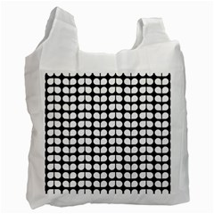 Black And White Leaf Pattern White Reusable Bag (one Side)