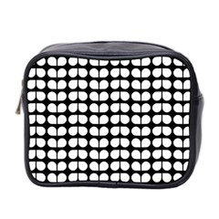 Black And White Leaf Pattern Mini Travel Toiletry Bag (two Sides)