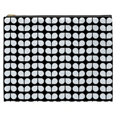 Black And White Leaf Pattern Cosmetic Bag (xxxl)