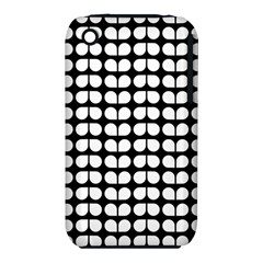 Black And White Leaf Pattern Apple iPhone 3G/3GS Hardshell Case (PC+Silicone)