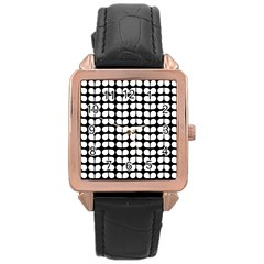 Black And White Leaf Pattern Rose Gold Leather Watch