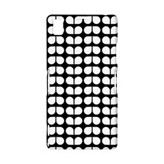Black And White Leaf Pattern Sony Xperia Z1 L39H Hardshell Case