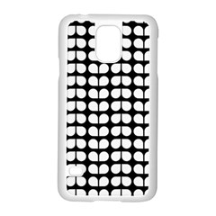 Black And White Leaf Pattern Samsung Galaxy S5 Case (White)