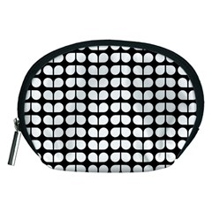 Black And White Leaf Pattern Accessory Pouch (Medium)
